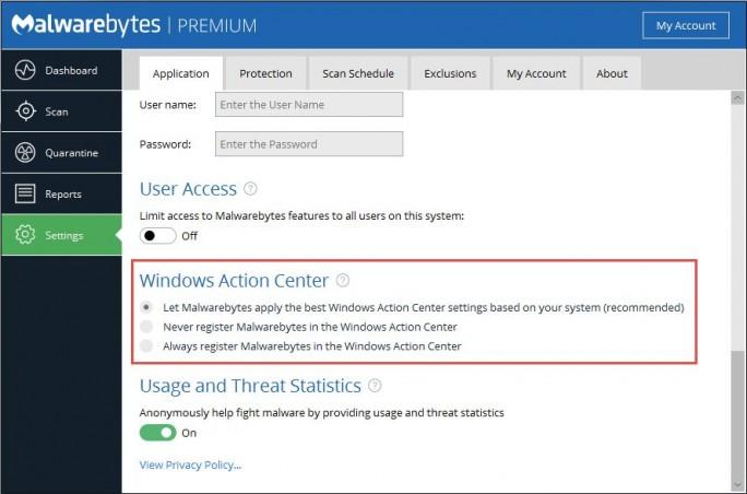 Malwarebytes 3.0 integriert sich auf Wunsch auch ins Windows Action Center (Screenshot: Malwarebytes)