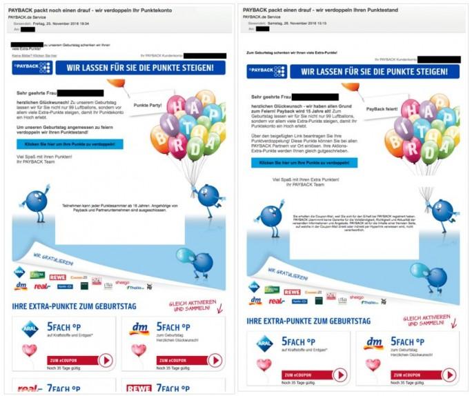 Original und Fälschung sind bei der aktuellen Phishing-Welle gegen Payback-Nutzer kaum zu unterscheiden  (Screenshots: G Data)