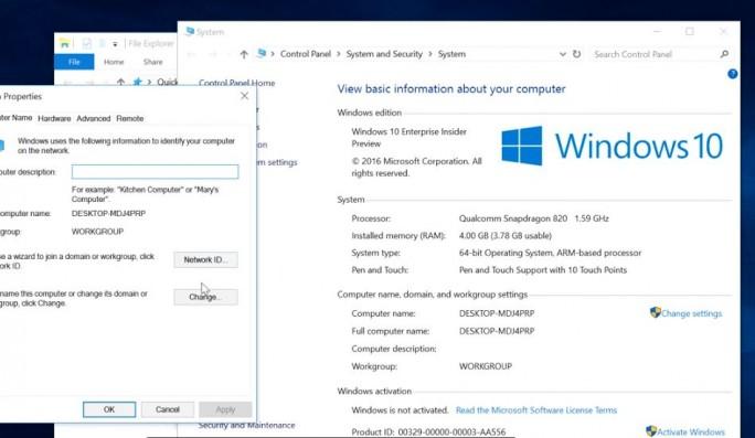 Windows 10 auf ARM: In der Systemsteuerung erscheint die Version für ARM. Über eine Emulationsschicht jedoch laufen sämtliche x86-Anwendungen einer normalen PC-Version. (Screenshot: silicon.de)