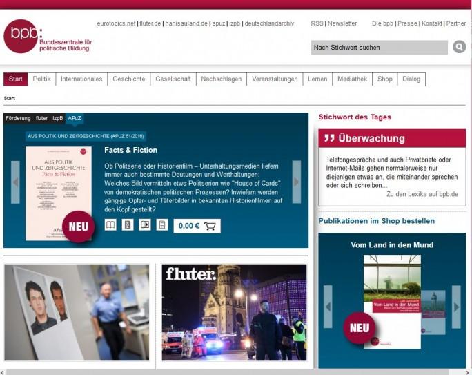 """Die Website der """"Task-Force-Thomas"""" offenbar nur unzureichenden bekannten Bundeszentrale für politische Bildung erklärt heute den Begriff """"Überwachung"""" (Screenshot: silicon.de)"""