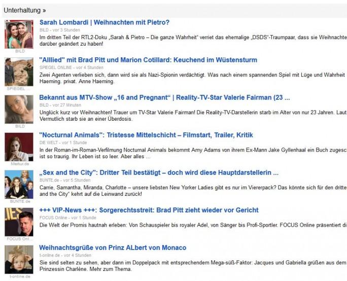 Sektion Unterhaltung bei Google News (Screenshot: silicon.de)