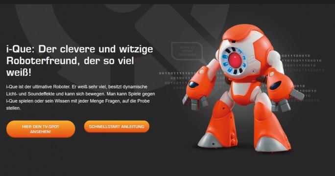 """Laut Hersteller ist der """"i-Que der clevere und witzige Roboterfreund, der so viel weiß!"""" Nach Ansicht der Verbraucherschützer jedoch ein schlechter vernetzter Schnüffler, der zu viel weiß Screenshot: silicon.de)"""