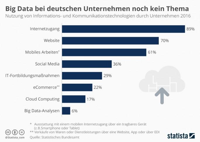Erste wenige Firmen in Deutschland nutzen Big Data (Grafik: Statista)