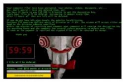 Die Ransomware Jigsaw setzt dem Opfer die virtuelle Pistole auf die Brust und gewährt nur wenig Zeit, um den Forderungen nachzukommen. (Bild: IBM X-Force)