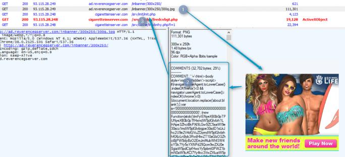 Analyse von Proofpoint im November 2016 gefundener, gefälschter Werbung mit Code, der nach der Extraktion die Umleitung zum DNSChanger-Exploit-Kit erlaubt. (Screenshot: Proofpoint)