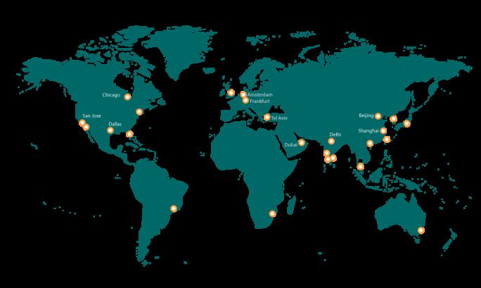 In wichtigen Rechnezentrumsstandorten der Welt ist Aryaka bereits vertreten, nun soll die vertriebliche Expansion folgen (Grafik: Aryaka)