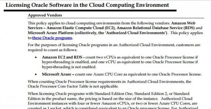 Oracle spezifiziert die eigene Lizenzpolitik bei virtuellen CPUs. Für Anwender, die Oracle auf AWS verwenden, könnte das aber eine Verdoppelung der Lizenzkosten nach sich ziehen. (Screenshot: silicon.de)