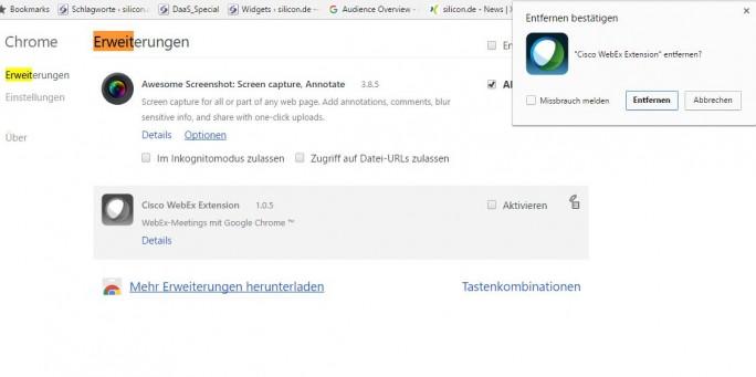 Unter dem Menüpunkt Chrome/Erweiterungen/ kann die Cisco WebEx-Erweiterung schnell entfernt werden. (Screenshot: silicon.de)