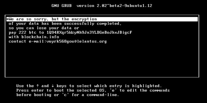 Verschlüsselung von KillDisk im Grup-Loader: Anders als von den Kriminellen versprochen, lässt sich diese Verschlüsselung jedoch kaum rückgängig machen. (Bild: ESET)