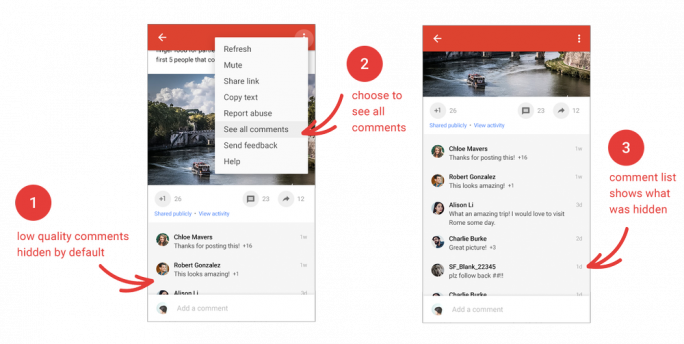 Google Plus will banale Beiträge künftig weniger prominent darstellen. (Bild: Google)