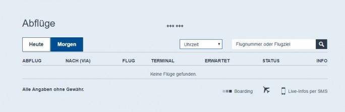 Die Online-Information über Flüge war auch bis Mittag noch nicht verfügbar. (Screenshot: silicon.de)