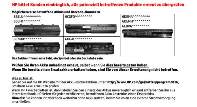 Die im Juni 2016 gestartete Rückruf von Notebook-Akkus wurde nun ausgeweitet (Screenshot: silicon.de