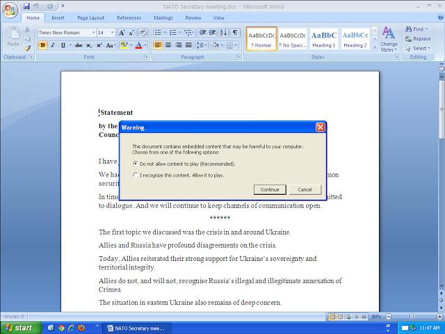 vermeintlich harmloses Dokument mit ausgefeilter Infektions-Routine. Das Cisco-Talos-Team vermutet staatliche Stellen hinter der Malware. (Bild: Cisco)