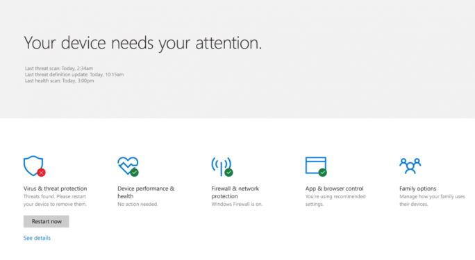 Windows Defender Security Center (Bild: Microsoft