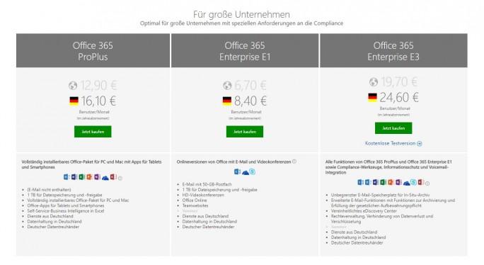 Angebote für kleinere  Unternehmen starten bereits ab 4,20 Euro. Das gilt allerdings für die Internationale Variante. Die Angebote in der Deutschen Microsoft sind etwas teurer als die 'normalen' Services. (Screenshot: silicon.de)