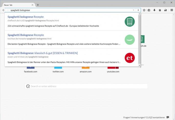 Die Cliqz-Schnell-Suche vermeidet Google (Bild: Cliqz).