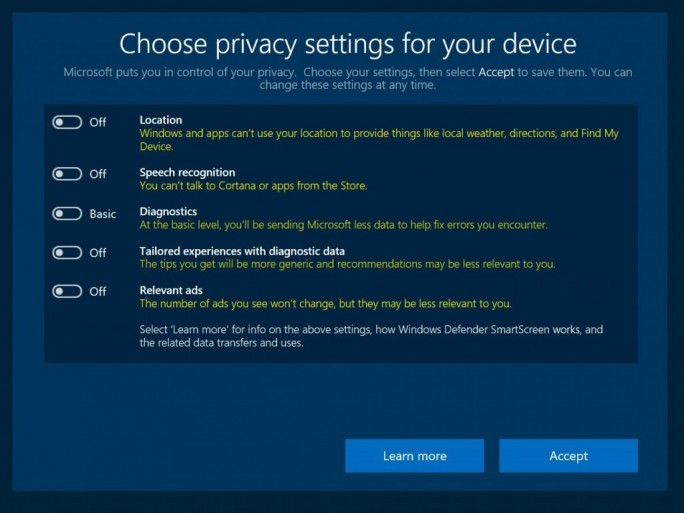 Das Datenschutz-Setup in Windows 10 (Screenshot: Microsoft).