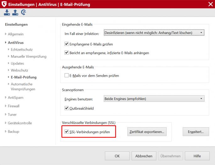 """Bei den Security-Produkten von G Data kann die Prüfung durch Abwahl von """"SSL-Verbindungen prüfen"""" deaktiviert werden (Screenshot: G Data)"""