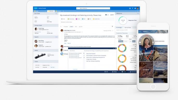 Die Salesforce.com Einstein Service Cloud soll über sämtliche Kanäle hinweg die Bereitstellung von Kunden-Services optimieren in dem es Anfragen vorkategorisiert und Mitarbeitern vorab Informationen zukommen lässt. (Bild: Salesforce)