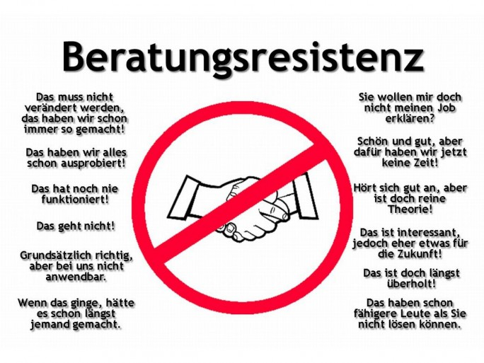 Anzeichen für Beratungsresistenz (Grafik: Volker Wendeler)
