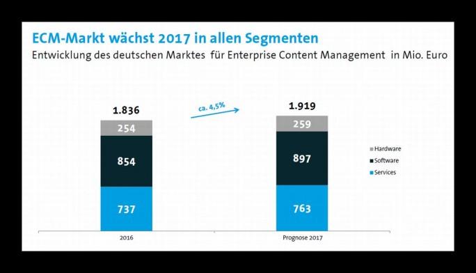 Der ECM-Markt wächst in diesem Jahr in allen Segmenten (Grafik: Bitkom).