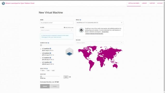 Mit wenigen Klicks lässt sich über die Anwendungs-Bibliothek von Bitnami über die Open Telekom Cloud zum Beispiel ein für den Public Cloud Service vorkonfigurierte Instanz von WordPress starten. (Sreenshot: silicon.de)