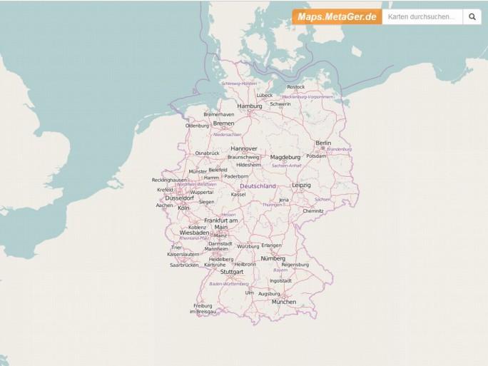 Mit seinem zunächst nur für Deutschland verfügbaren, auf OpenStreetMap basierenden Kartendienst will Metager eine tracking-freie Alternative zu Google Maps bieten (Screenshot: silicon.de)