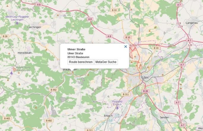 Bei Metager Maps läst sich direkt von den Geoinformationen in der Karte aus eine Websuche starten (Screenshot: silicon.de)