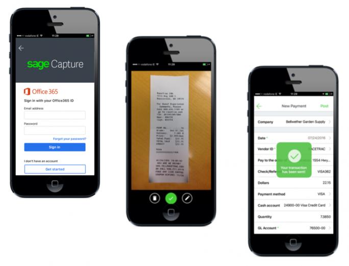 Mit Sage Capture können Anwender über das Mobiltelefon Belege erfassen und in OneDrive abspeichern. (Bild: Sage)