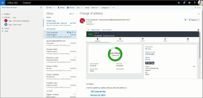 Informationen aus Sage 50c können aufgrund der engen Integration mit Office 365 direkt in Outlook angezeigt werden. (Bild: Sage)