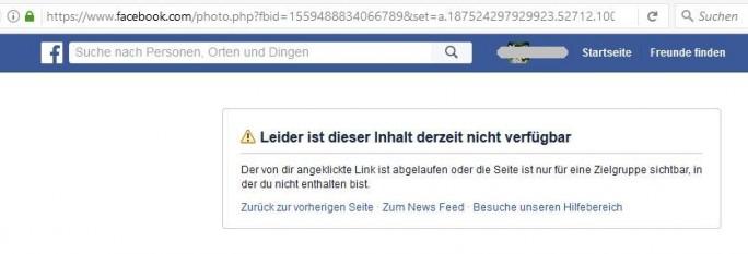 """Eines der beanstandten  Bilder ist inzwischen nicht mehr abrufbar – laut Facebook """"leider"""" und """"derzeit"""". (Screenshot: silicon.de)"""