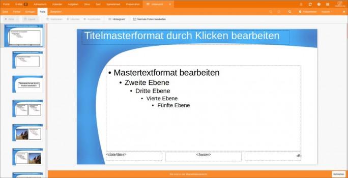 Masteransicht des Präsentations-Tools bei Mailbox.org  (Bild: Mailbox.org)