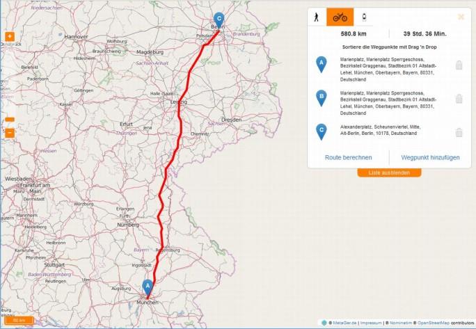 Zu Beginn steht Metager Maps nur für Deutschland zur Verfügung und beschränkt sich die Routenplanung auf Fußgänger und Radfahrer (Screenshot: silicon.de)