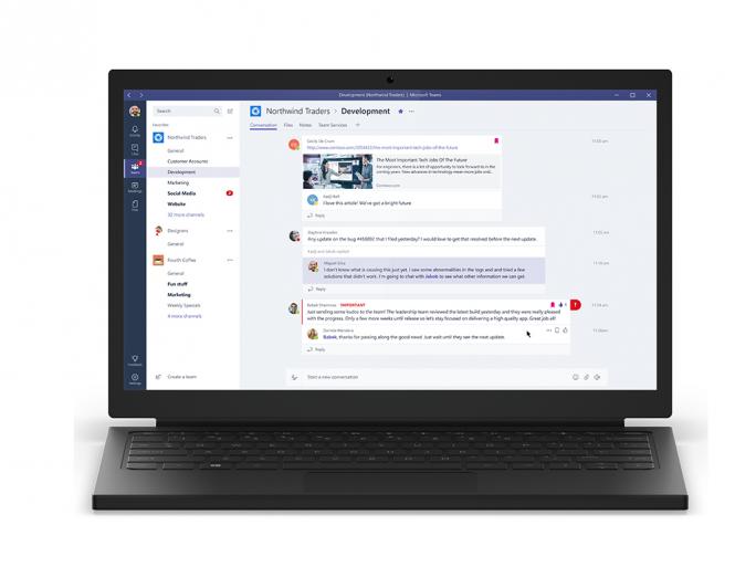 Microsoft Teams, die neue Kollaborationslösung ist unter anderem in Office 365 enthalten. (Bild: Microsoft)