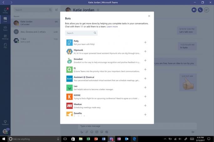 Innerhalb von Microsoft Teams sollen Bots die Zusammenarbeit erleichtern und organisieren (Bild: MIcrosoft)