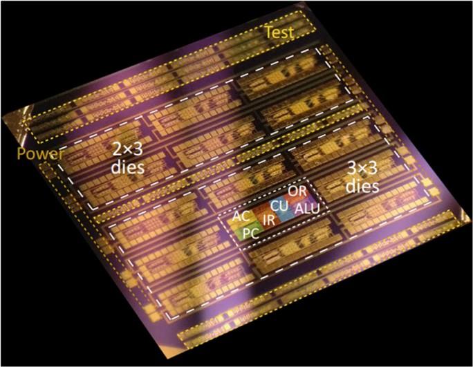 Der von Thomas Müller und seinem Team realisierte 1-bit Mikroprozessor besteht aus 115 Transistoren auf einer Fläche von rund 0,6 Quadratmillimetern. (Bild: TU WIen)