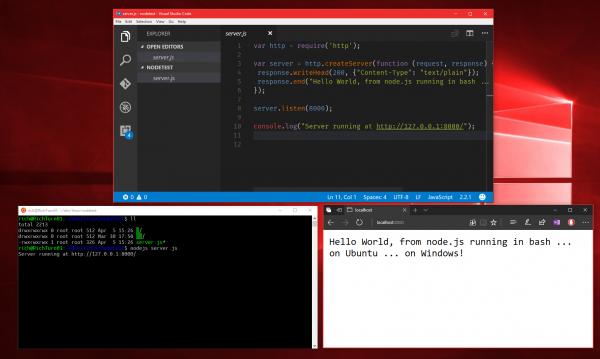 Mit dem Support für Ubunut 16.04 können Anwender Linux-Files auch über Windows GUI Editoren wie VSCode, Visual Studio, SublimeText oder Notepad++ bearbeiten. (Bild: Microsoft)