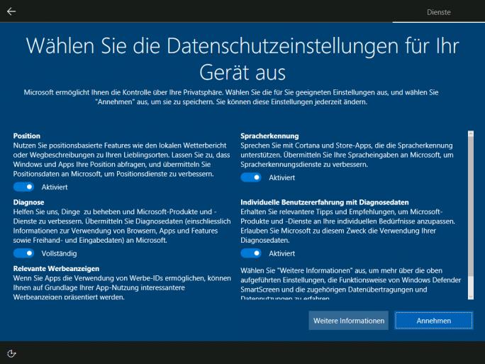 """Bei der Neuinstallation von Windows 10 bekommen Nutzer nun einen besseren Überblick und mehr Konfigurationsmöglichkeiten bezüglich Datenschutz. Die neuen Optionen ersetzen die """"Expresseinstellungen"""" und die bisherigen """"Erweiterten Einstellungen"""" (Bild: Microsoft)"""
