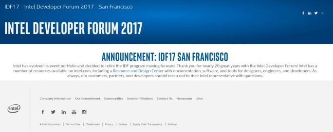 Intel beendet nach 20 Jahren das Intel Developer Forum. (Screenshot: silicon.de)