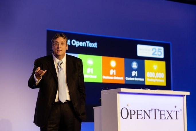 Auf der Innovation Tour gab Mark Barrenechea, CEO und CTO von OpenText, einen Überblick über das neue Release 16 EP2 der Enterprise Information Management Suite. (Bild: OpenText)