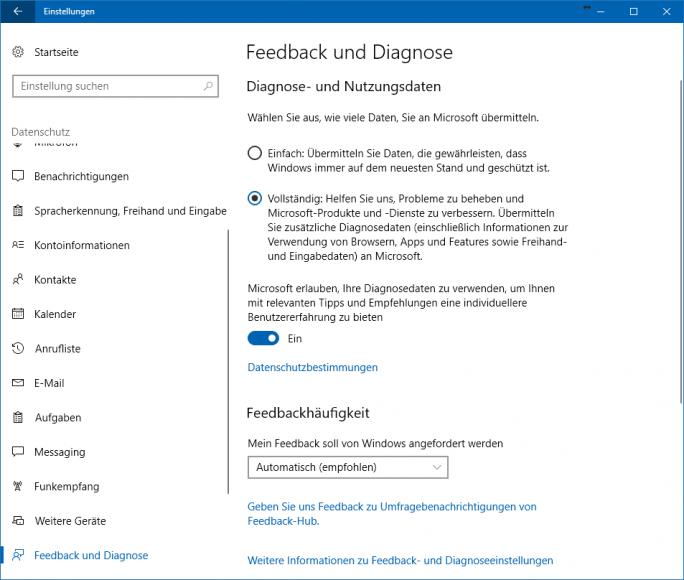 Informationen und Einstellungsmöglichkeiten zu Diagnose- und Nutzungsdaten in Windows 10 1703 Creators Update (Screenshot: ZDNet.de)