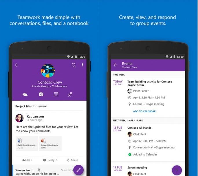 Groups in der Android-App. (Bild: Microsoft)