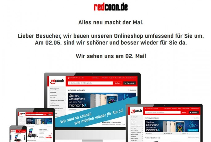 Website von Redcoon geschlossen (Screenshot: silicon.de)