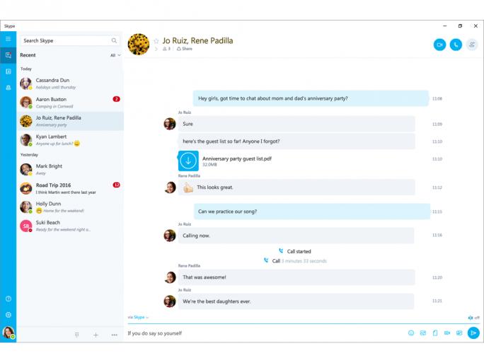 Neue Gruppen-Videochat-Funktion in der Skype-App von Windows 10. (Bild: Microsoft)