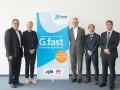 Auf der Fachmesse ANGA Com haben Vetreter von M-net, Huawei und AVM den Startschuß für G.fast in Deutschland gegeben (Bild: M-net)