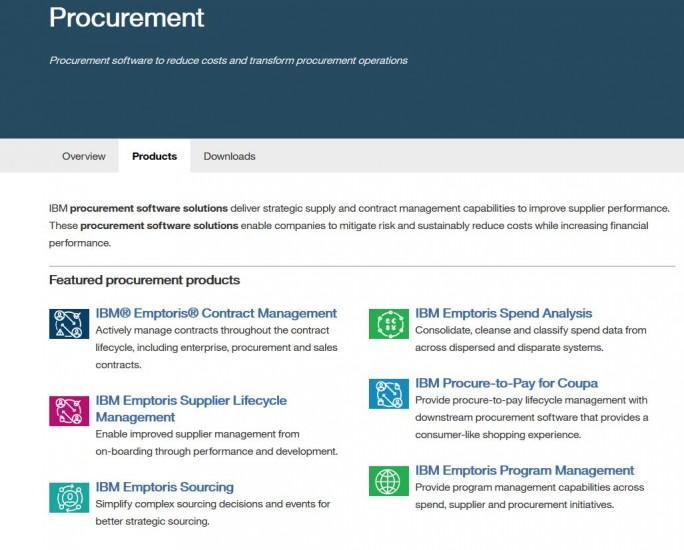 Das aktuelle, in weiten Teilen auf der Emptoris-Übernahme basierende IBM-Portfolio an Procurement-Software (Screenshot: silicon.de)