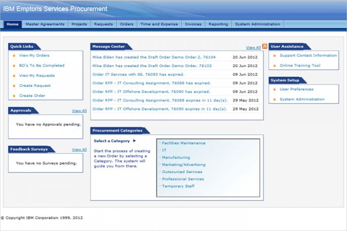 Mit Emptoris lässt sich nicht nur die Beschaffung von Waren, sondern auch von Dienstleistungen steuern, verwalten udn automatisieren (Screenshot: IBM)