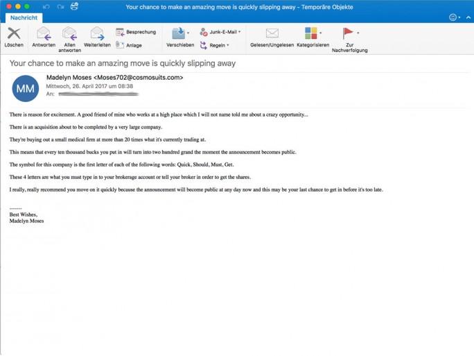 Retarus warnt vor einer aktuellen Spam-Kampagne, bei der verschlüsselt der Penny-Stock von Quest Management Inc., einem lettischen Unternehmen, beworben wird. (Bild: Retarus)