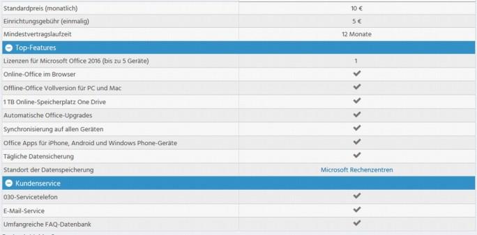 Office 365 Leistungsumfang bei Strato (Screenshot: silicon.de)